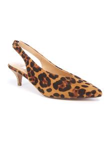 Online Exclusive Leopard Print Slingback Kitten Heels