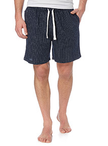 Navy Gridcheck Twill Lounge Shorts