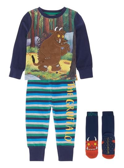 938444657520 Kids Boys Blue Gruffalo Pyjamas with Socks (9 months-6 years)