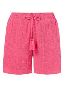 Pink Crinkle Geometric Trim Shorts