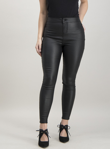 Online Exclusive PETITE Black Coated Skinny Jeans