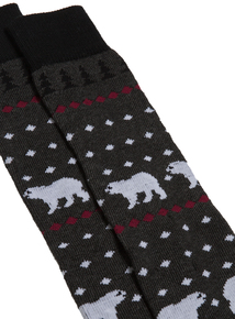 Charcoal Polar Bear Fairisle Print Socks