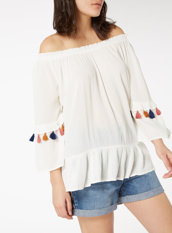 Cream Tassel Sleeve Top
