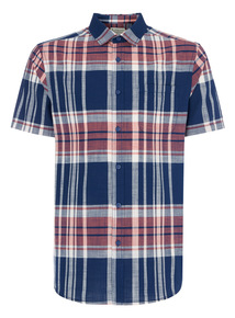 Navy Engineered Madras Check Shirt