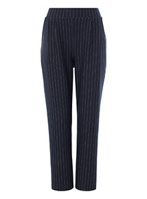 Navy Tapered Pin Stripe Jersey Trousers