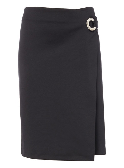 Black Wrap Front Skirt