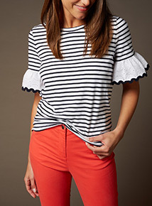 Premium Stripe Broderie Sleeve Top