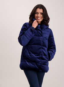 Navy Velvet Quilted Jacket