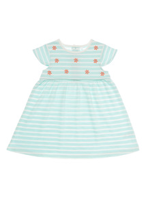 Girls Green Striped Loopback Dress (0 - 24 months)