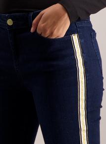 Dark Denim Skinny Fit Side-Stripe Jeans