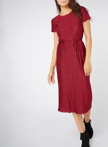 Red Textured Finish Midi Dress