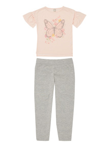 Pink Butterfly Top And Leggings Set (3 - 12 years)