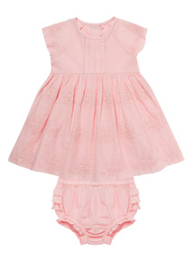 Pink Embroidered Floral Dress With Knickers (0 - 12 months)