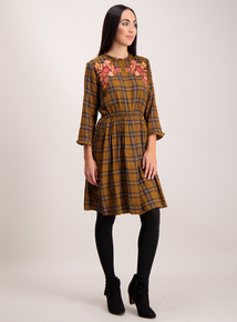Brown Check Floral Embroidered Dress