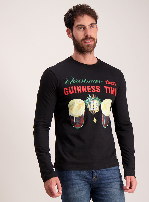 Christmas Top.Sku Licence Online Only Ls Guiness Xmas Tee Black