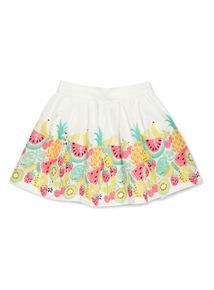 White Fruit Border Skirt  (9 months-6 years)