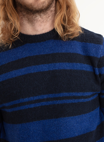 GFW Navy & Blue Striped Crew Neck Jumper