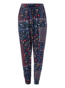 Navy Patchwork Pattern Drapey Trousers