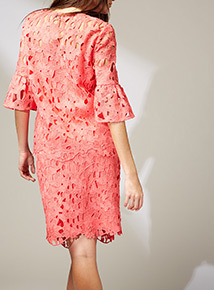 Premium Coral Wide Sleeve Lace Top