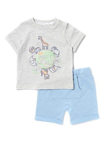 Blue Happy World T-Shirt and Shorts Set (0-24 months)