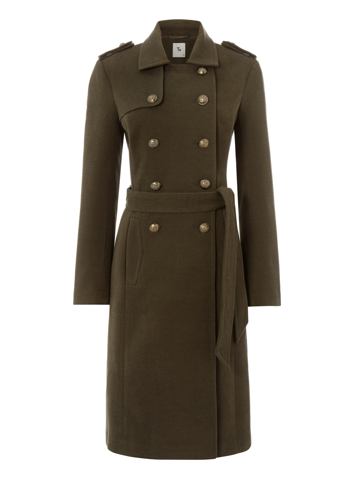 Womens Khaki Belted Military Coat | Tu clothing
