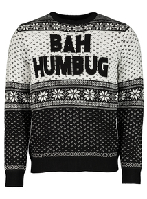 Christmas Monochrome 'Bah Humbug' Jumper