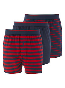 3 Pack Red Printed Jersey Boxers