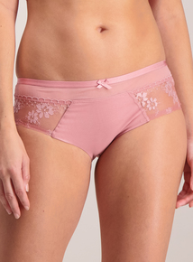 Pink Floral Embroidery Short