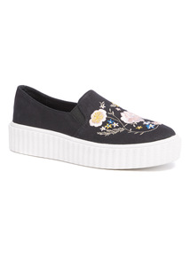 Black Embroidered Creeper Shoes