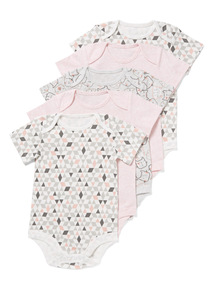 5 Pack Pink Kitty Bodysuits (0-24 months)