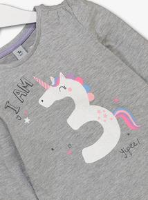 Grey Unicorn 'I Am 3' T-Shirt (2 - 4 years)