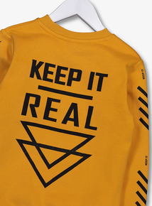 Yellow Crew Neck 'Keep It Real' Sweater (3 - 14 Years)