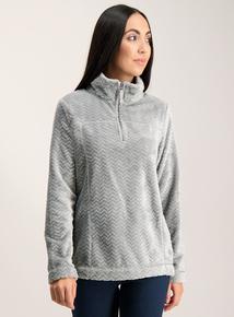 Grey Zig Zag Zip Neck Fleece