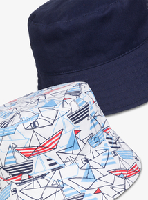 1c6655e660a Blue   White Nautical Bucket Hats 2 Pack (1-9 years)