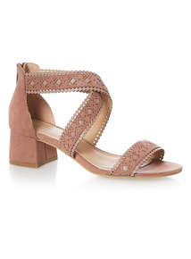 Lazer Cut Block Heel Sandals