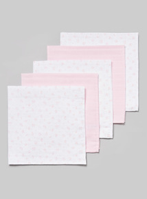 Pink and White Muslin Squares (one size)