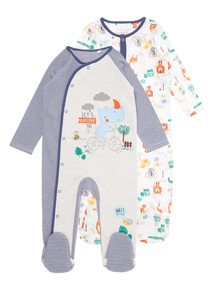 Boys Blue Patterned Sleepsuits (0-24 months) 2 Pack