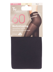 Black 60 Denier Body Control Tights 2 Pack