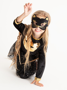 Halloween Cat Costume With Tutu And Mask (3-12 Years)