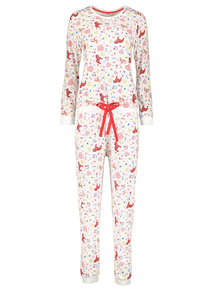 Christmas Cream Horse & Heart Print Pyjamas