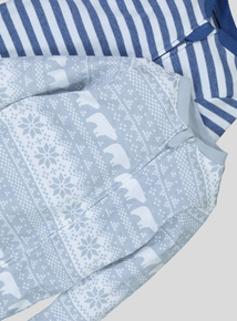 Blue And Grey Fairisle 2 Pack Sleepsuits (0-24 Months)