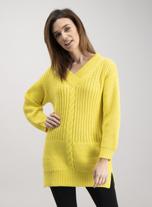Yellow Cable Knit Long Line Jumper