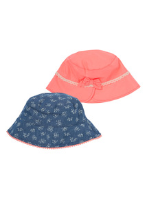 Multicoloured Ditsy Bucket Hats 2 Pack (1 - 12 years)