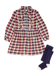 Multicoloured Embroidered Check Dress and Tights Set (3-14 years)