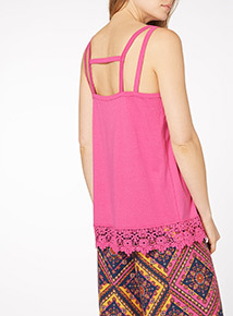 Pink Sleeveless Lace Trim Vest