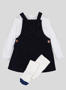 Navy Pinafore Dress With Bodysuit & Tights (0-24 months)