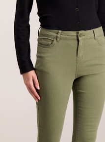 Khaki Cotton Twill Skinny Jeans