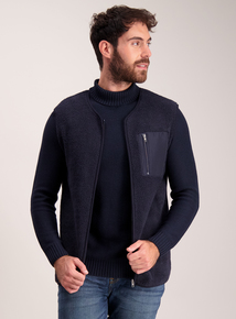 Navy Borg Fleece Gilet