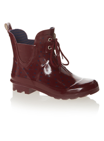 Dark Red Two Eyelet Ankle Welly