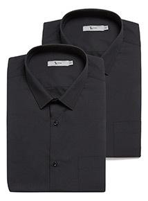 2 Pack Black Easy Iron Short Sleeve Shirts